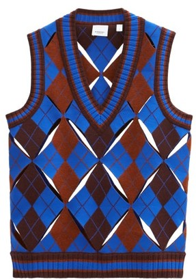Burberry Maliyah Sleeveless Argyle Wool-blend Sweater - Blue Multi