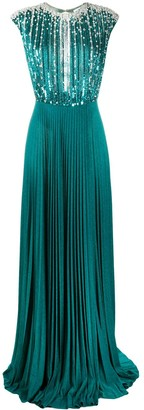 Elisabetta Franchi Sequin Embellished Pleated Gown