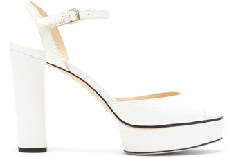 Jimmy Choo Peachy 105 Lizard Effect-leather Platform Sandals - White