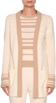 Agnona Striped-Cuff Boucle Cardigan, White Nude