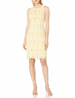 Maggy London Women's Star Flower Lace Scalloped Sheath Yellow/White 8