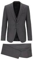 HUGO BOSS - Extra Slim Fit Three Piece Suit In Virgin Wool - Open Grey
