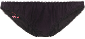 Les Girls Les Boys Embroidered Cotton Mid-rise Briefs