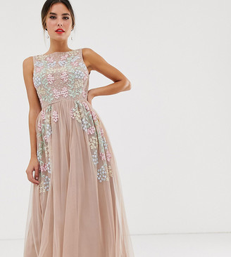 Maya all over embroidered midaxi dress in pink multi