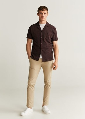 MANGO MAN - Cotton knit shirt maroon - S - Men