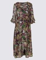 Marks and Spencer Floral Print Ruffle Sleeve Wrap Midi Dress