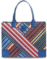 Tory Burch 'Ella - Quilted Stripe' Tote - Blue