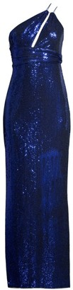 Aidan Mattox Asymmetric Metallic Knit Gown