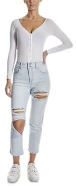 Dollhouse Juniors' Destructed High Rise Straight-Leg Jeans
