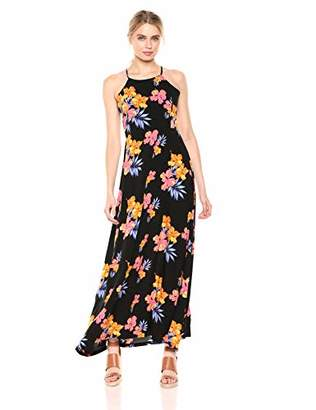 28 Palms Tropical Hawaiian Print Halter Maxi Dress Casual, Aqua/Pink Ginger, S