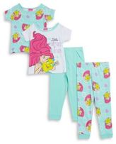 AME Sleepwear Little Girls Four-Piece Little Mermaid Pajama Set