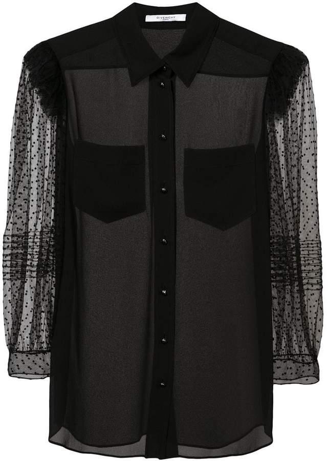 Givenchy sheer point d'esprit sleeve shirt