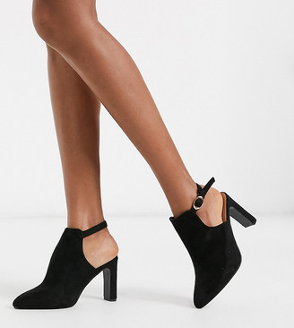 Simply Be wide fit open back pointed boots in black