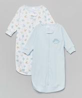 SpaSilk Blue & White Dinosaur Sleeping Sack Set - Infant