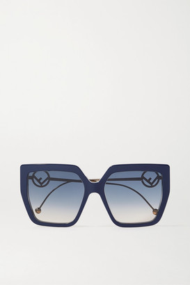 Fendi Oversized Square-frame Acetate And Gold-tone Sunglasses - Navy