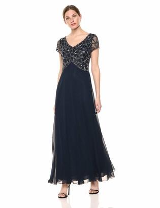 J Kara Petite Women's Short Sleeve Geo Long Beaded Gown