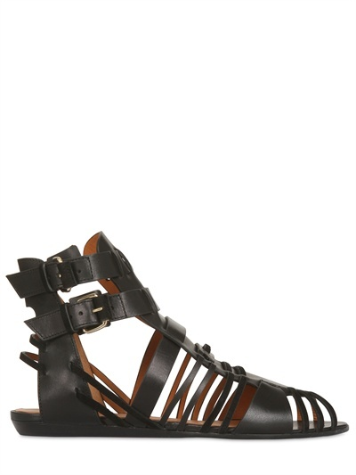 Givenchy 10mm Leather Buckled Sandal Flats