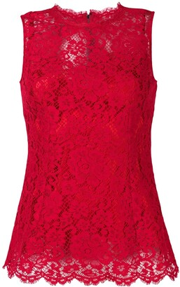 Dolce & Gabbana Sleeveless Floral Lace Top