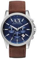 Armani Exchange Blue Chronograph Leather Strap Watch Ax2501