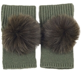 Short Chunky Ribbed Gloves in Olive Green