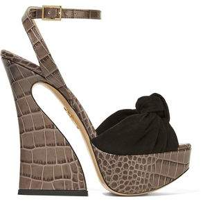 Charlotte Olympia Vreeland Croc-Effect Leather And Suede Platform Sandals