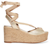 Tabitha Simmons Logan Metallic Leather Wedge Espadrille Sandals - Gold