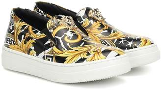 Versace Kids Wild Barocco leather sneakers