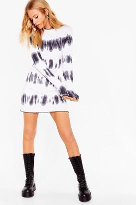 Nasty Gal Womens tie dye long sleeve rib mini dress - White