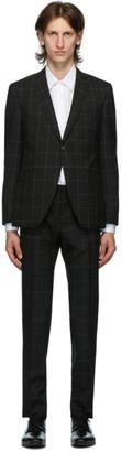 HUGO BOSS Black Wool Window Pane Suit