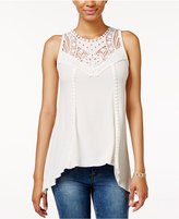 American Rag Crocheted-Bib Handkerchief-Hem Top, Only at Macy's