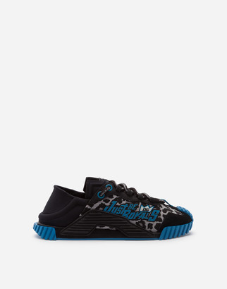 Dolce & Gabbana Mixed Material Ns1 Slip-On Sneakers With Jungle Print Over A Light Blue Base