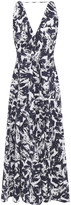 Thumbnail for your product : Roland Mouret Pleated Printed Taffeta Midi Dress