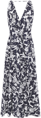 Roland Mouret Pleated Printed Taffeta Midi Dress