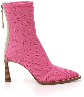 Fendi Tronchetto Pointed Toe Ankle Boots
