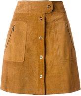 Maison Margiela front fastening A-line skirt - women - Calf Suede - 38