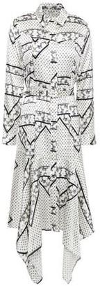 Ganni Asymmetric Printed Stretch-silk Satin Shirt Dress