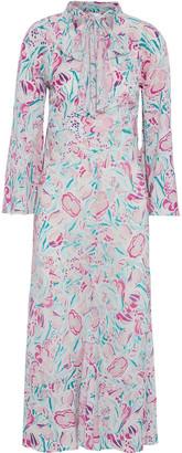 Rixo Amel Pussy-bow Floral-print Silk Crepe De Chine Midi Dress