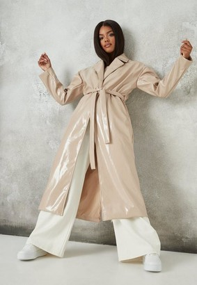 Missguided Cream Faux Leather Belted Maxi Coat