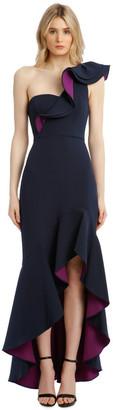 BCBGMAXAZRIA Eve Single-Shoulder Asymmetrical Ruffle Dress