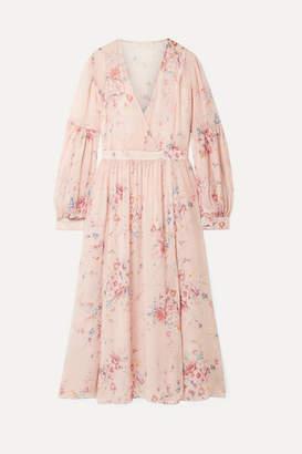 LoveShackFancy Leah Frayed Floral-print Silk-georgette Midi Dress - Pink
