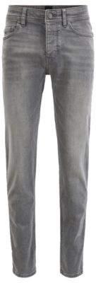 BOSS Tapered-fit jeans in super-stretch grey denim