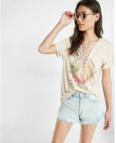 Express Tanlines And Tequila Lace-up Graphic Tee