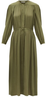 Three Graces London Julienne Balloon-sleeve Crepe Dress - Dark Green
