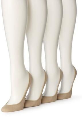 Hue Women's 4 Pair Pack Cotton Liner