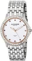 Akribos XXIV Women's AK620SS Lady Diamond Swiss Quartz Diamond and Crystal Silver-tone Bracelet Watch