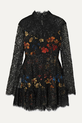 Etro Metallic Corded Lace And Floral-print Crepe Mini Dress - Black