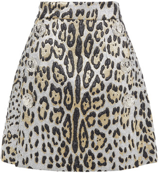 Dolce & Gabbana Button-embellished Metallic Leopard-jacquard Mini Skirt