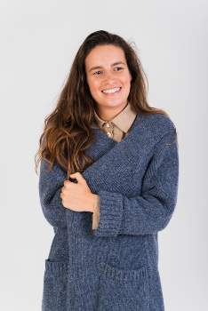 Näz Naz - One Size Blue Wool/Alpaca Cardigan - ONESIZE | polyester | blue - Blue/Blue