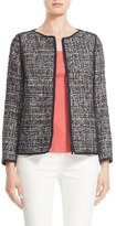 Lafayette 148 New York 'Keaton' Collarless Tweed Jacket