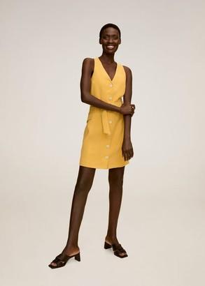 MANGO Buttoned wrap dress light/pastel grey - 2 - Women